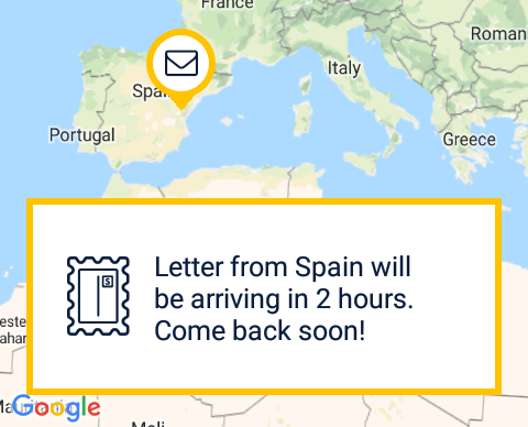 Map of the world in Slowly pen pal app, with a letter icon showing where the incoming message is coming from, in this case from Spain. There is a notification coving most of the lower part of screen, reading, 'Letter from Spain will be arriving in 2 hours. Come back soon!'