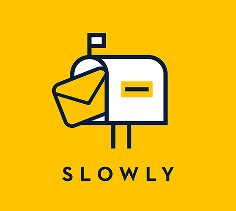 Slowly's official logo. A Mailbox, with a yellow envelop going inside it.