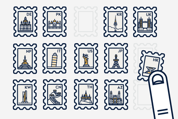 Cartoonish apps for Slowly pen pal app. The stamps each or for a country with a known landmark, such as Pisa Tower for Italy and Tower Bridge for the UK.