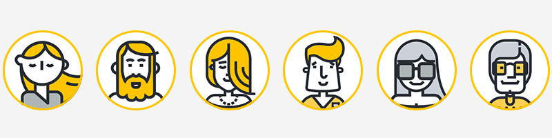 Slowly's cartoonish avatars. They are profile pictures, showing face and neck and breast area.