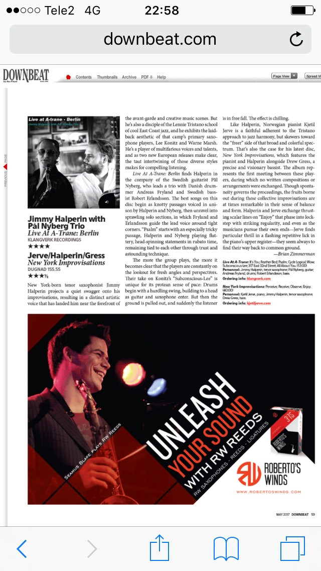 Jimmy Halperin w/ Pål Nyberg Trio Live at A-trane 4 stars in DownBeat Magazine