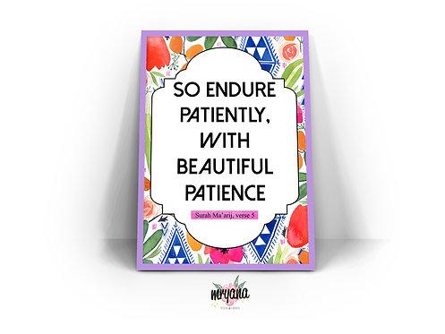 Surah Al Ma'arij, verse 5 Frame Quote Printout