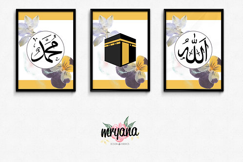 "Yellow Grey Floral ""Allah & Muhammad SAW"" Printout"