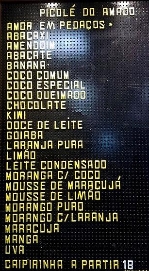 Tabela de Sabores Picolé do Amado