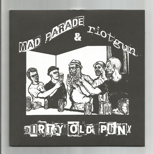 """Mad Parade/Riot Gun split """"cartoon cover with members of MP and Riot Gun"""""""