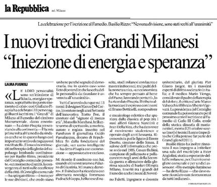 """I nuovi tredici Grandi Milanesi """"Iniezione di energia e speranza"""""""