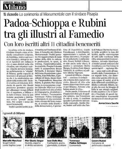 Padoa - Schippa e Rubini tra gli illustri al Famedio