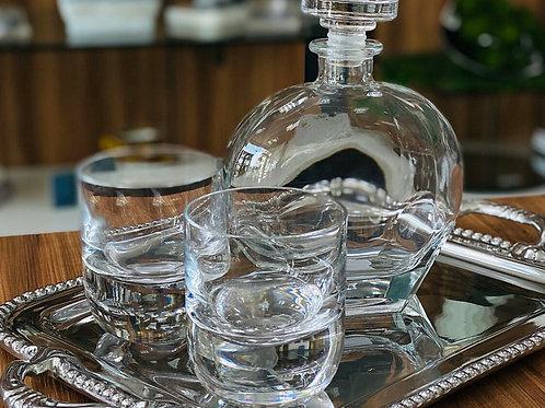 Set de botella para Whisky y dos vasos de cristal