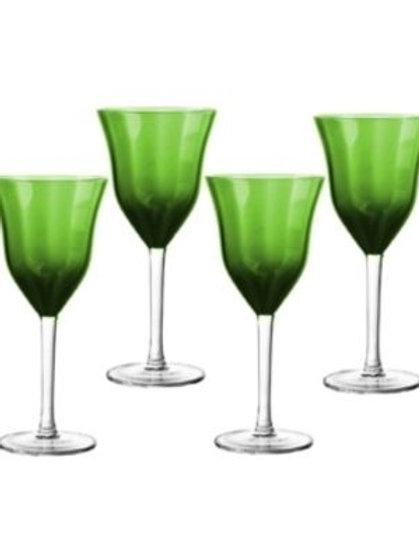 Copas para vino en color verde con transparencia, set de 4