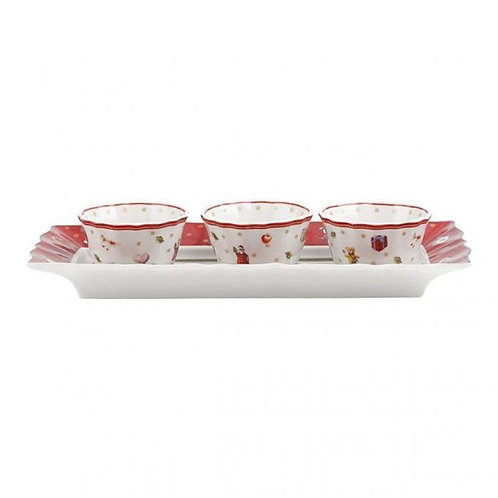 Set of 3 Dip Bowls with Tray