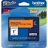 """Brother TZeB51 24mm (0.94"""") Black on Fluorescent Orange tape for P-Touch 5m (16."""