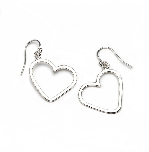 Solid Sterling Silver Heart Shaped Earrings