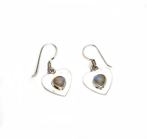 Sterling Silver Labradorite Heart Shaped Earrings