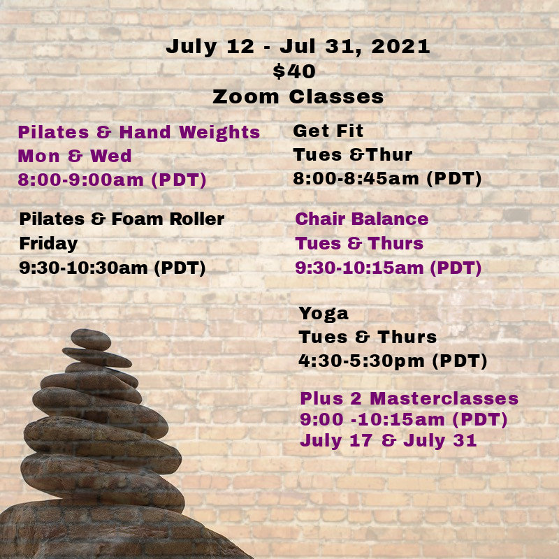 7/12 - 7/31/21 July Zoom Classes