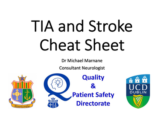 GEM Teaching: TIA and Stroke Cheat Sheet