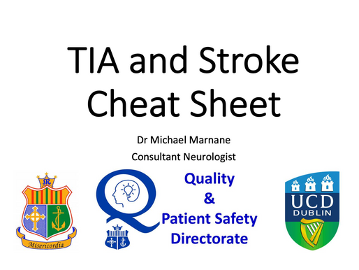 GEM Teaching: TIA and Stroke Cheat Sheet