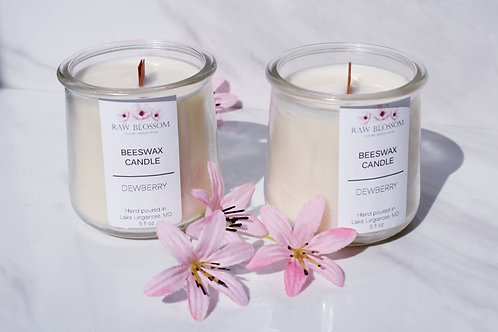 Beeswax Wood Wick Candle | Dewberry