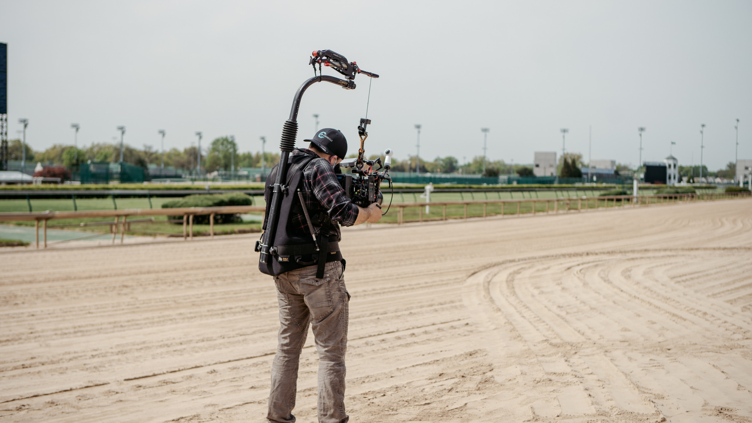 Filming on the track
