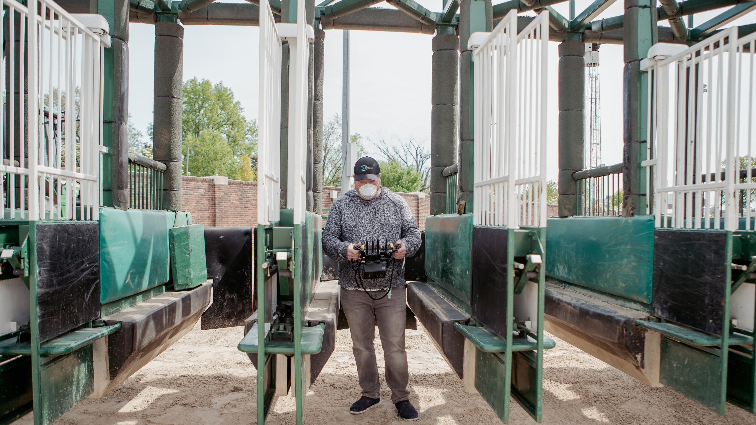 Director Zach Meiners in the gate