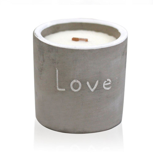Wooden Wick Concrete Pot Soy Natural Candles - Love - Purple Fig & Casis