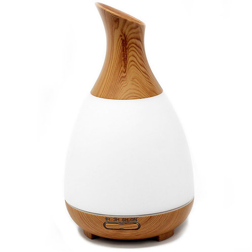Up-Funnel White & Wood Pod Atomiser - Plug In - Led Colours - Timer