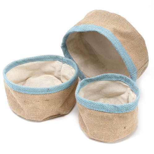 Set of 3 Natural Jute Storage Basket Containers - Teal