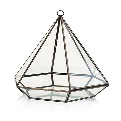 Glass & Brass Geometric Terrarium Plant Box Planter Holder - Large Diamond