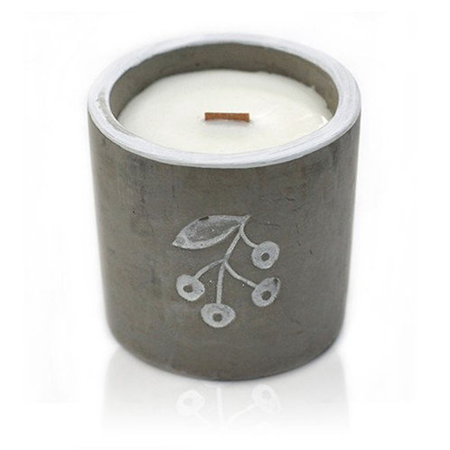 Wooden Wick Concrete Pot Soy Natural Candles - Berrys - Juniper & Sweet Gin