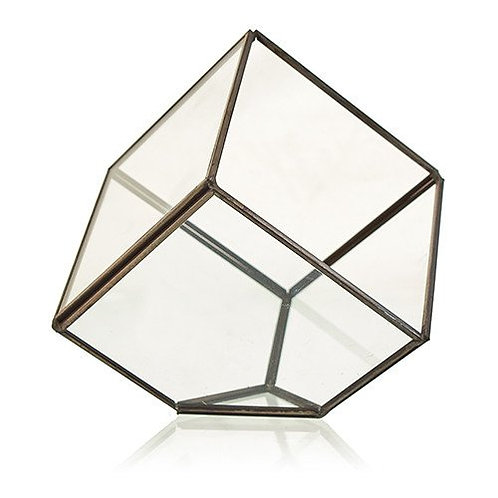 Glass & Brass Geometric Terrarium Plant Box Planter Holder - Cube on Corner