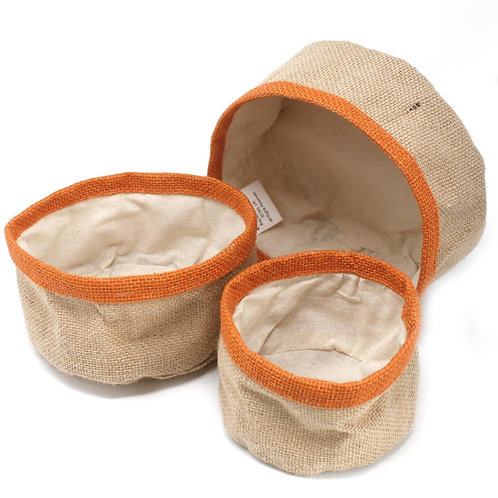Set of 3 Natural Jute Storage Basket Containers - Turmeric