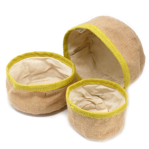 Set of 3 Natural Jute Storage Basket Containers - Olive