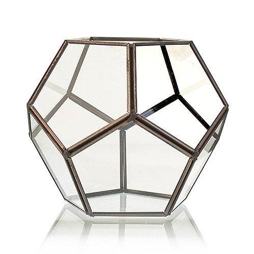 Glass & Brass Geometric Terrarium Plant Box Planter Holder - Large Octagon