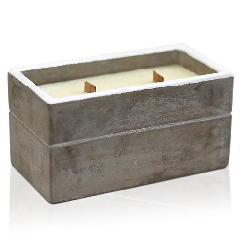 Wooden Wick Concrete Pot Natural Soy Candle - Large Box
