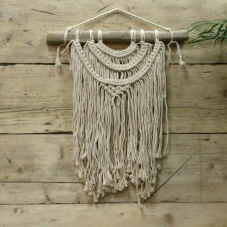 Macrame Wall Hanging - Three Waves - Handwoven Cotton Bohemian Tapestry