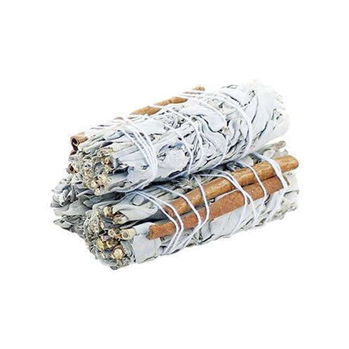 Smudge Stick - White Sage & Cinnamon - Attracts Manifestations - Purifying 10cm