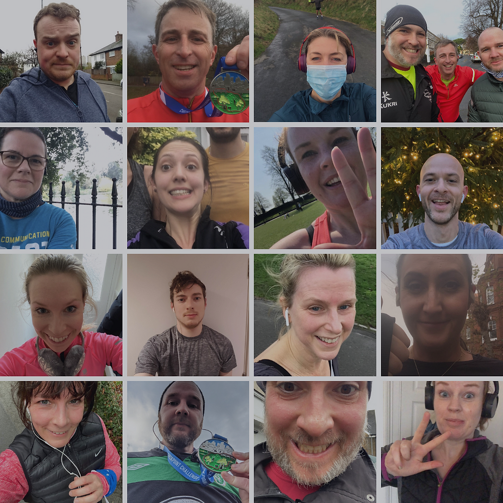 A montage of some of the runners who participated in the lockdown challenge to raise £1000
