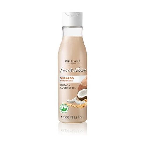 Love Nature Shampoo para Cabello Seco de Trigo y Coco