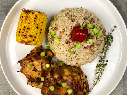 Jerk Chicken with Black Eyed Bean Rice and Sweet Corn