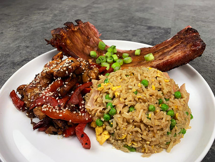 Spare Ribs, Thai Chicken Stir Fry and Special Fried Rice