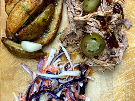 Pulled Pork with Wedges and Coleslaw