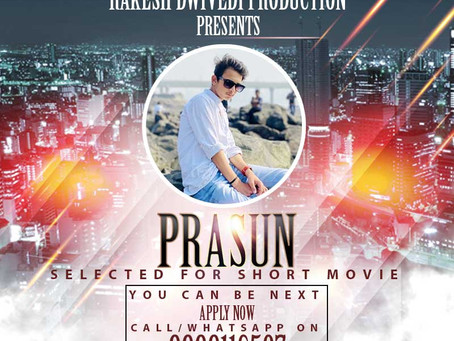 Prasun is Selected for the Celebrity Face Short Video.