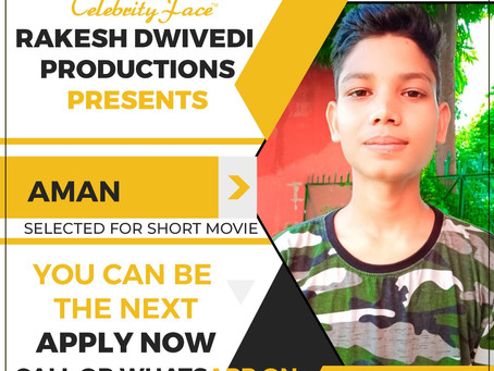 Aman is Selected for the Celebrity Face Short Video Shoot.