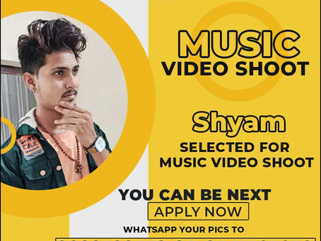 Shyam is Selected for the Celebrity Face Music Video Shoot.