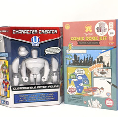 Ages:  8 and up Character Creator: $23.00  Create 1 of 2 styles of figure...or mix and match them to create your own style.  Draw and color right on the figure!  Clean it off and create a new character.  Ages: 5+ Comic Book Kit $18.00