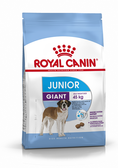 Royal Canin Giant Junior from 8 - 18/24 months old.