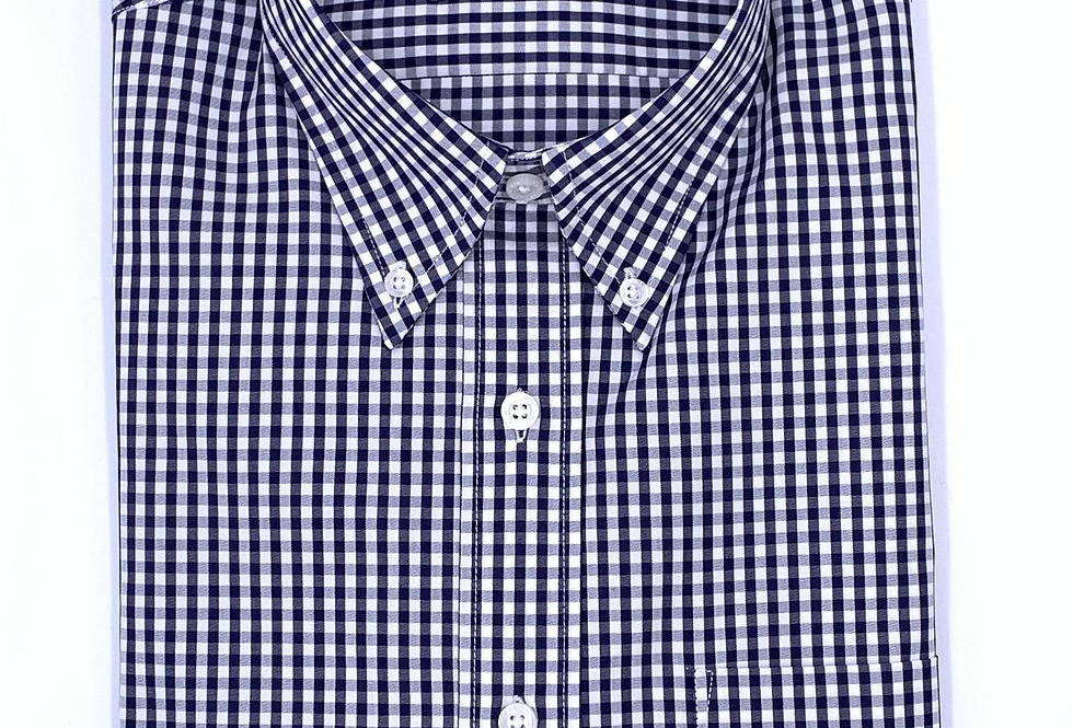 Camisa popelín cuadro vichy azul marino