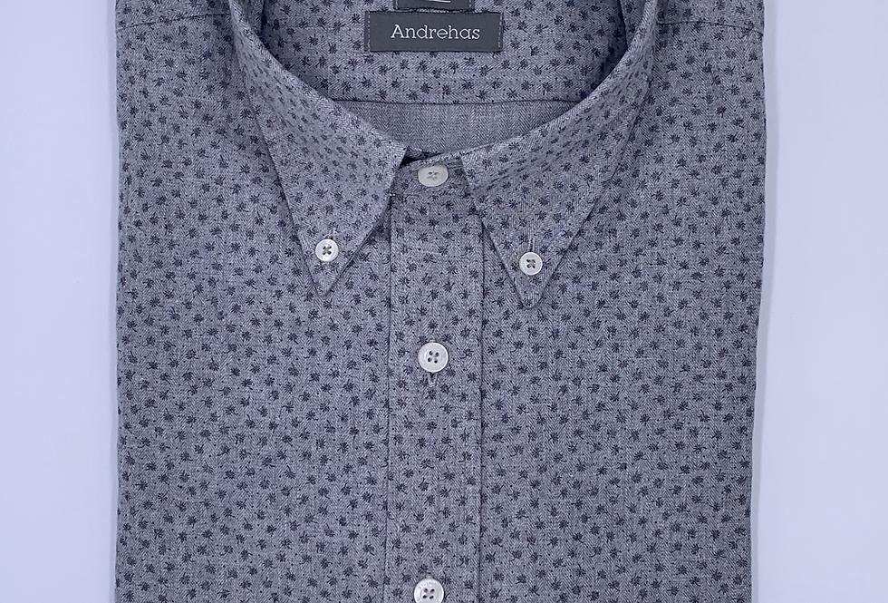 Camisa gris estampada twill e hilo melange. Edición limitada.