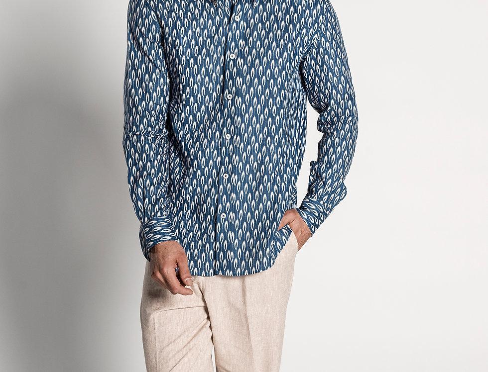 Camisa de lino azul estampado. Edición Limitada.