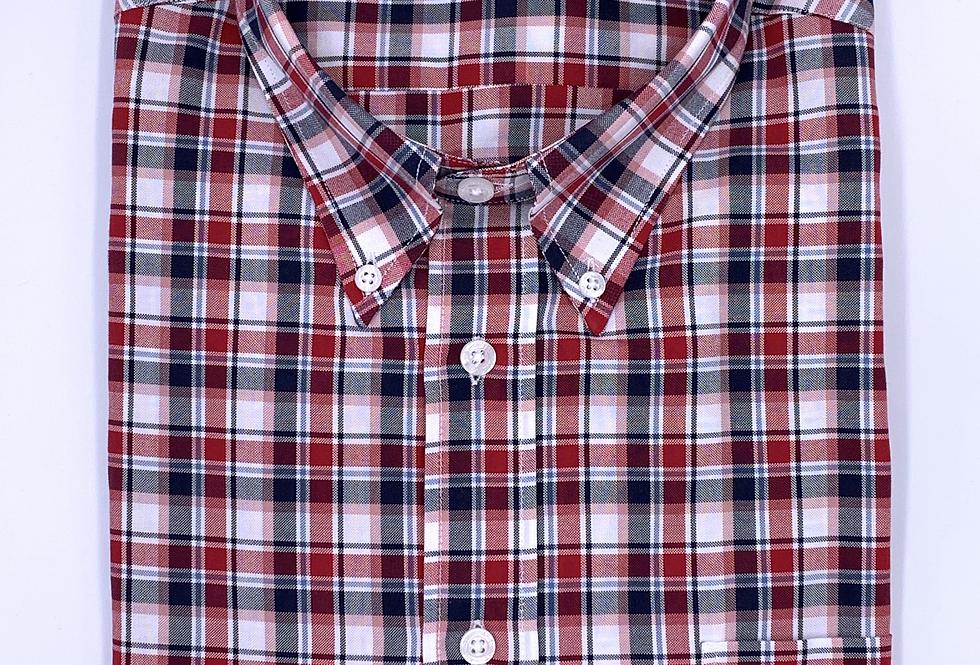 Camisa Sport cuadros rojo gris y blanco