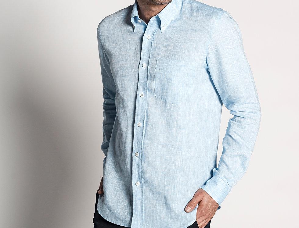 Camisa de lino azul cielo